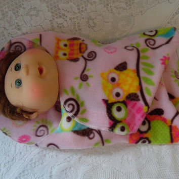 Owl Print Blanket for Dolls, Swaddling Blanket, Fleece Swaddler, Doll Accessories, Doll Clothes, for Baby Stella, Bitty Baby, Baby Alive