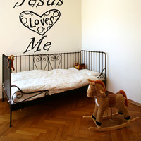 Vinyl Wall Decal Sticker Jesus Loves Me #OS_AA1498