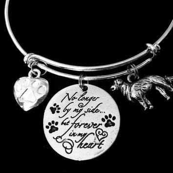 Labrador Retriever Dog Memorial Jewelry No Longer By My Side but Forever in My Heart Adjustable Bracelet Silver Expandable Charm Bangle Animal Lover One Size Fits All Gift Paw Print