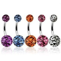 Lot of 5 Belly Ring 14G Belly Button Rings Leopard Print Acrylic - 5 Pieces