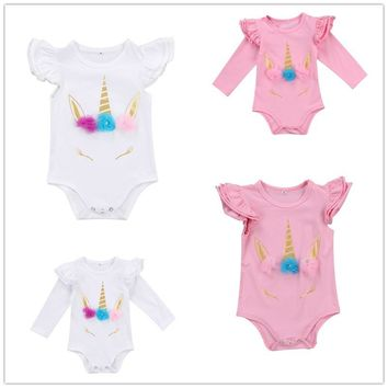 Pudcoco 4 Styles Newborn Infant Baby Girl Unicorn Floral Bodysuit Summer Autumn Clothes Outfits 0-18M