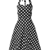 Vintage Style Halter Polka Dot Printed Swing Dress