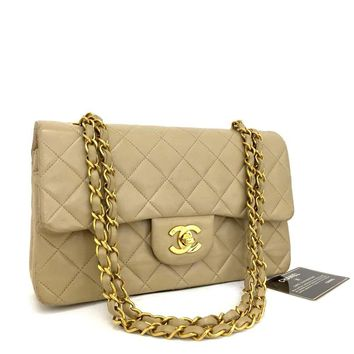 CHANEL Double Flap 23 Quilted CC Logo Lambskin w/Chain Shoulder Bag Beige/ CXE x