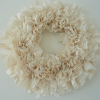 Small Rag Wreath Ivory Lace Muslin Wedding Bridal Shower Engagement