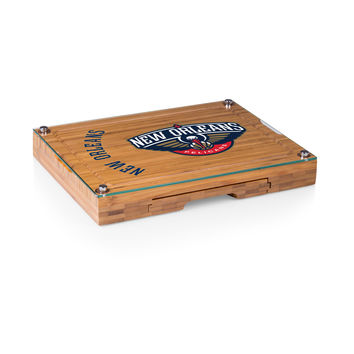 New Orleans Pelicans - 'Concerto' Glass Top Cheese Board & Tools Set by Picnic Time