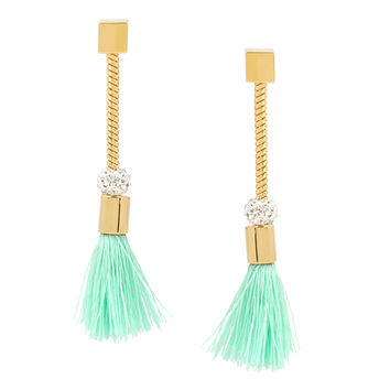 Straw Tassel Earrings, Mint
