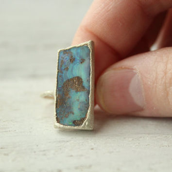 Hand-Cut Boulder Opal Alternative Engagement Ring - Boho Lux Ring - Unique Bridal Jewelry - Bohemian Wedding Ring - Raw Gemstone Ring -