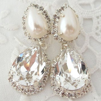 Bridal Earrings Crystal And Pearl Chandelier Rhinestone Earring