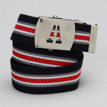 Kids Initial Belt Navy red gray stripe infants to Tweens - ALL letters available.