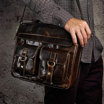 """Mens Genuine Real Leather Antique Style Briefcases Business 13"""" Laptop Cases Attache Portfolio Bags Tote B207Shippin"""