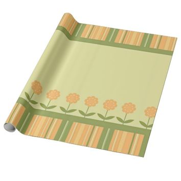 Spring Floral Striped Gift Wrapping Paper
