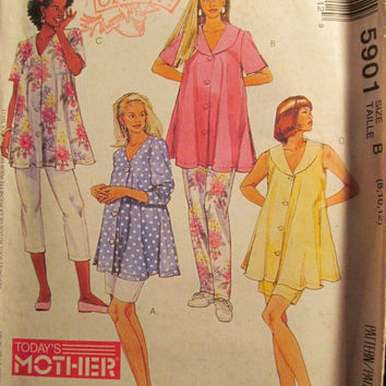 Sale Uncut 1992 McCall's Sewing Pattern, 5901! 8-10-12 Small/Medium/Women's/Misses/Maternity Blouses/Collared Blouse/Button Up Top/Thigh Len
