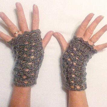 Gray Hand Knit Fingerless Gloves/ Grey Texting gloves/ Mittens Wrist Warmers Hand Warmers Winter Fashion  gloves gift for her woman fashion
