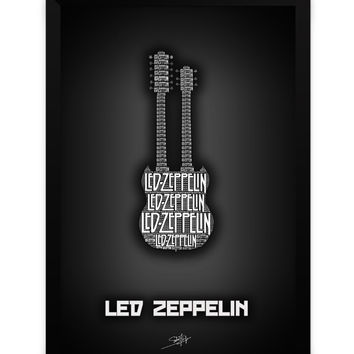 Led Zeppelin Guitar Matte Framed Poster