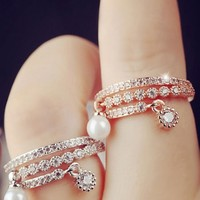 Entangled Love Pearl and Rhinestone Layered Ring - LilyFair Jewelry