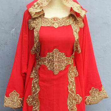 Red Kaftan Maxi Dress Kaftan Abaya Dubai Hoodie Caftan Bohemian Farasha Vintage Premium Quality Chiffon Cotton - One Size Fits All Dress