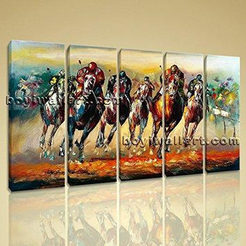 Large 5 Piece Contemporary Canvas Print Abstract Horse Racing Wall Art