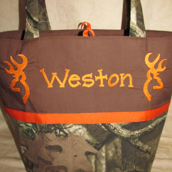 Handmade mossy oak camo camouflage browning inspired buck deer diaper bag you choose name