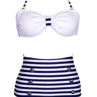 Retro High Waist Pin up Bikini Sets Polka Top + Bottom Swimsuit Swimwear (S=US XS, Blue)