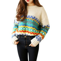 style  Wool Sweater Long sleeved Vintage Sweet Print Knitted Sweater Oversized  Christmas sweater Femme