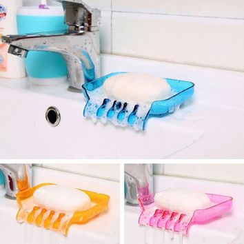 4 Color Soap Holder with Drain Bathroom Accessory Sucker Soap Holder Sponge Cloth Drying Rack plastic box