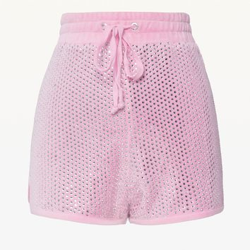 Allover Swarovski Embellished Velour Short