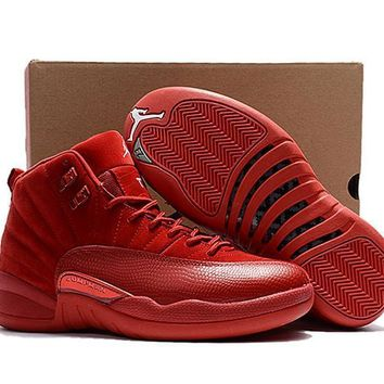 9b94cc24259c New Released Air Jordan 12 Retro Red Suede Basketball Shoes Men Women 12s Red  Suede Sneakers
