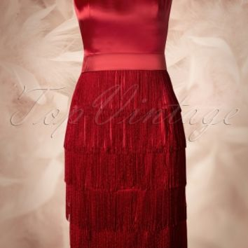 Queen of Heartz - 20s Gatsby Fringe Dress in Red