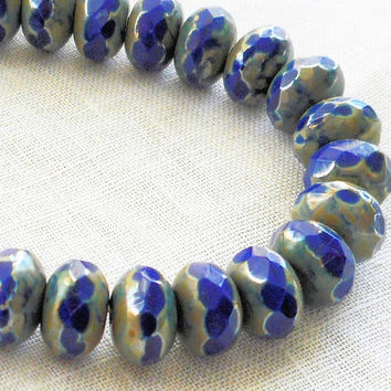 Lot of 30 6 x 9mm opaque cobalt blue picasso faceted puffy rondelle beads, blue Czech glass rondelles C80225