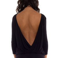 Turn Around Draping Twist Open Back Jersey Top - Black