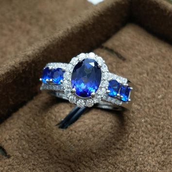 FLZB ,Fine Jewelry Ring Natural Topaz Gemstone in 925 Sterling Silver Tanzanite Color Gem Double Ring Design For Women and Girl
