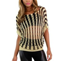 Stripes of Gold Wide Sleeve Knit Top