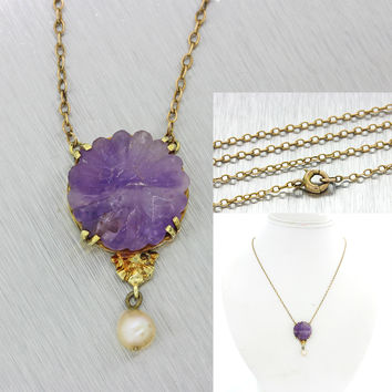 1880s Antique Victorian 14k Solid Gold Pearl Purple Amethyst Pendant Necklace
