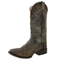 Stetson Mens Brown Cowboy Western Boots Square Toe