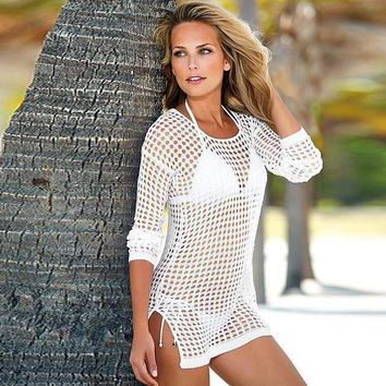 PEAPGC3 Women's Split Bikini Coverup Knit Crochet Tunic Cover up Beachwear