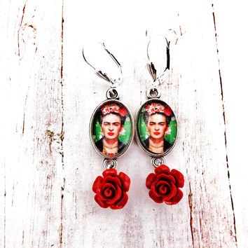 Frida Khalo Green, Silver and  Red Flower Earrings
