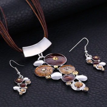 Silver Plated Colorful Drip Pendant Jewelry Sets Vintage Rhinestone Chunky Statement Multi Layers Wax Rope Necklace Earring