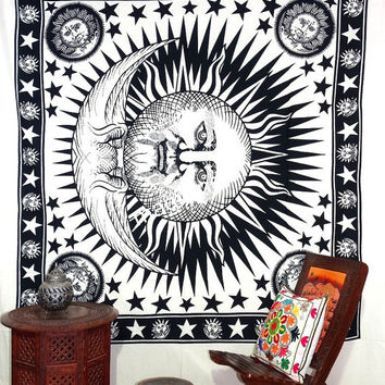 Hippie Sun Moon Tapestry, Queen Mandala tapestries, sun moon wall hanging, Wall Hanging Throw Bedspread Bed Decor, Ethnic Decorative Art