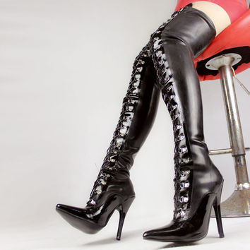 Jialuowei Thigh High Black Latex Back Lace Up with 4 inch high heel fetish latex rubber boots Free shipping