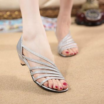Stripe New Women's Sandals Summer Fashion Sweet Dress sandals hollow low heel shoes lady casual shoes