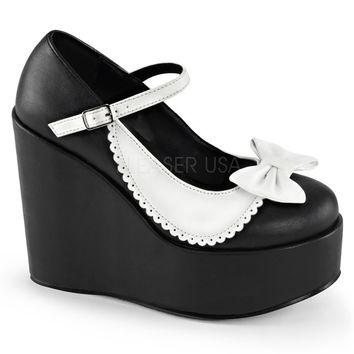 Demonia Two Toned Scalloped Poison Wedges