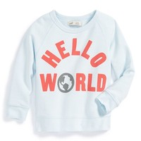 Infant Boy's Peek 'Hello World' Raglan Sleeve Sweatshirt