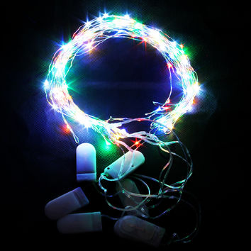 Copper Wire String Light 2M 20 Led Waterproof Led Fairy Lamp Button Battery Operated Party Christmas Decoration Lights