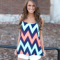 Wave Pattern Strappy Sleeveless Blouse