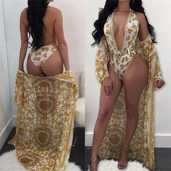 Sexy Gold One Piece Brazilian Swim Suit and Cover Up