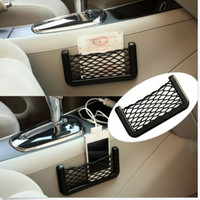 15*8 cm Car Storage Mesh Net Resilient String Phone Bag Holder Organizer For Hyundai Kia Audi Ford universal car phone holder