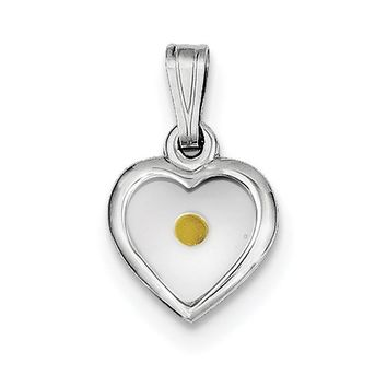 Sterling Silver Rhodium-plated Small Heart with Mustard Seed Pendant QC7399