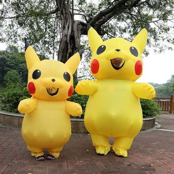 Inflatable Pikachu Costumes Cosplay Carnival  Costumes Halloween Costumes for Kids Adults Men Women Girls Mascot PurimKawaii Pokemon go  AT_89_9