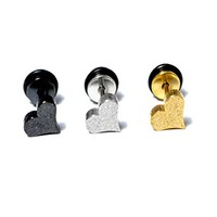 Glitter Heart 316L Stainless Steel Ear Studs - 3 pcs. Set