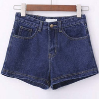 Plain High Waist Zipper Embellish Denim Shorts